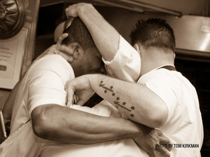 Bromance in the Beard House kitchen.