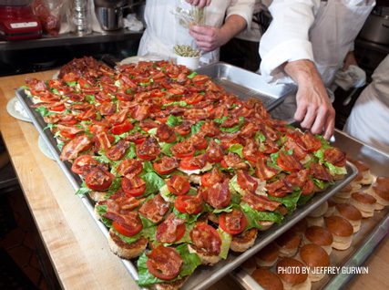 Rows of BLTs served at the Beard House.