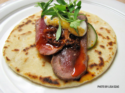 Seared Venison with Oak-Smoked White Jalapeño Salsa, Cucumber–Mint Salad, and Fennel Pollen Crema