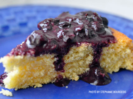 Corncake with Blueberry Compote