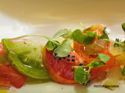 Summer tomatoes served at a Beard House dinner.