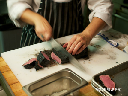 slicing kobe beef