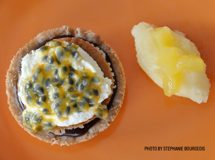 Megan Romano's recipe for Dark Chocolate Passion Fruit Tart, from the James Beard Foundation