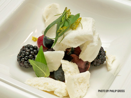 Matthew Lighnter's beets, berries, and meringue at the James Beard House