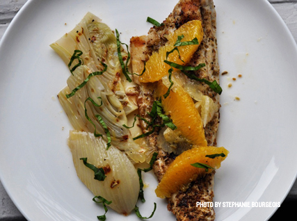 Recipe for Grilled Loup de Mer with Braised Fennel and Sauce Vierge, from the James Beard Foundation