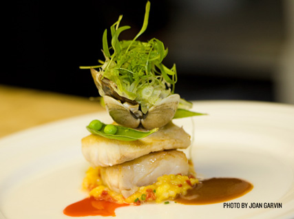 A stacked dish of bass served at a Beard House dinner.
