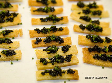 Caviar topped crisps served at a Beard House dinner.