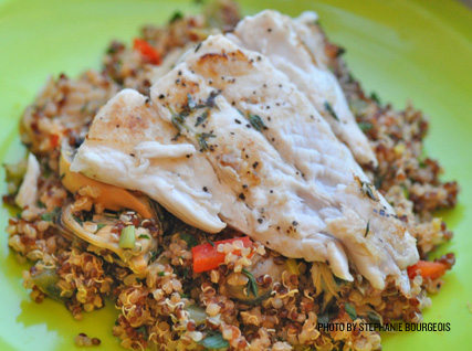 Anthony Dawodu's Pan-Seared Snapper with Paella-Style Quinoa