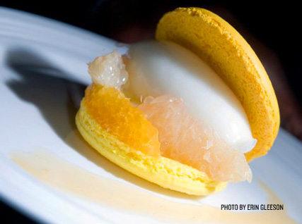 Citrus Macaron with Citrus Slices, Lime–Vanilla Sorbet, Lemon Curd Cream, and Blood Orange Sauce