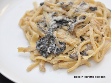 Tim Wiechmann's Corn Fettuccine with Black Trumpet and Purple Wine Cap Mushrooms, Lemon Verbena, and Bûcheron