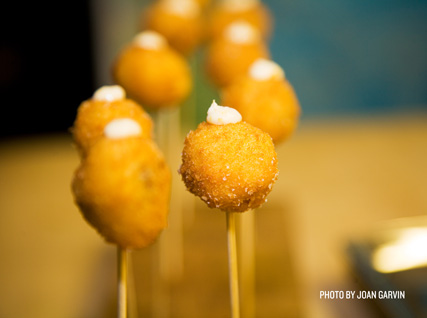 Arancini lollipops served at a Beard House dinner.
