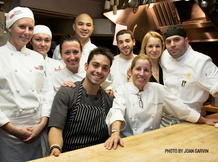 Carmen Gonzalez and her team in the Beard House kitchen.
