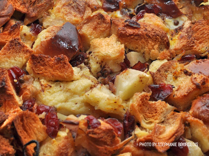 savory cranberry bread pudding