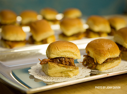 Trays of pork sliders at a recent Beard House dinner.