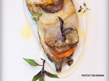 Alain Ducasse's braised caramelized eggplant with Salvatore Bklyn smoked ricotta and porcini–fall vegetable gratin boulangère