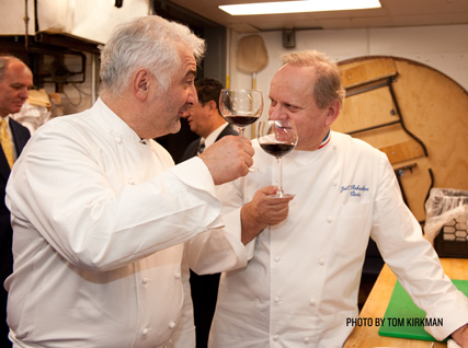 Guy Savoy and Joël Robuchon evaluate wine in the Four Seasons kitchen