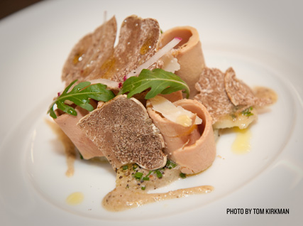 Joël Robuchon's shaved white truffles and potatoes with foie gras carpaccio