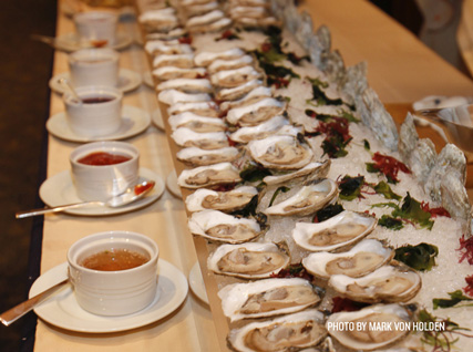 Oyster bar with various mignonettes