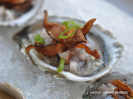 Oysters with Crisp Shiitakes, Scallions, and Roasted Shiitake Mignonette