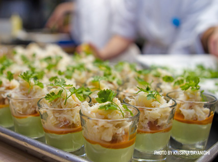 peekytoe crab and avocado mousse trifles