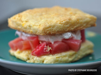 Claudia Fleming's Shortcake Biscuits with Rosé-Poached Rhubarb