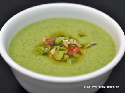 Chilled English Pea Soup with Fava Bean–Almond Salsa