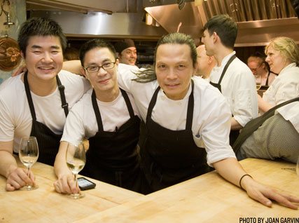 Yuhi Fujinaga, Doron Wong, and Susur Lee in the Beard House kitchen