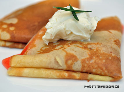 Cornmeal Crêpes with Strawberries, Mascarpone, and Rosemary