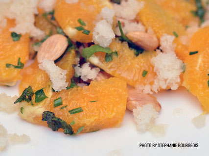Orange–Marcona Almond Salad with Pineapple Granita