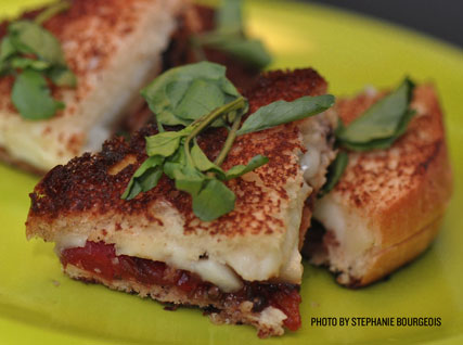 Grilled cheese sandwiches with fig ketchup