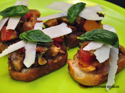 Summer Ratatouille Bruschetta with Pecorino Ribbons