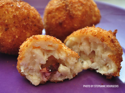 Rice Bean Arancini with Bacon and Cheddar