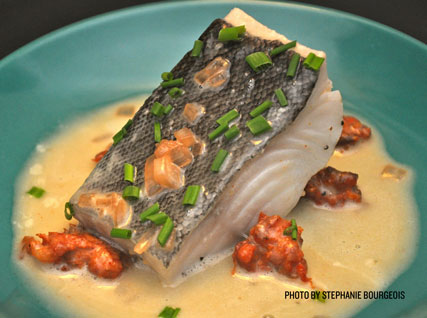 Poached Black Cod with Sausage-Spiced Butter Sauce
