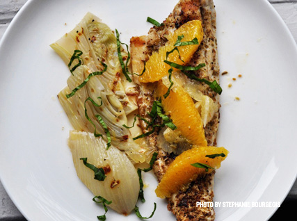 Grilled Loup de Mer with Braised Fennel