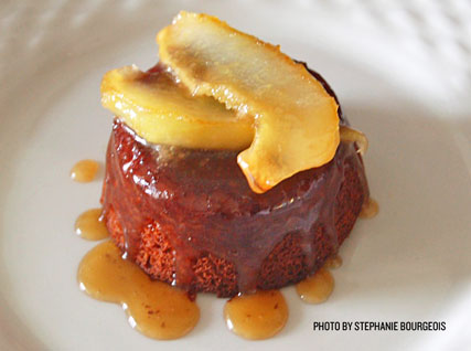 Sticky Ginger Cake with Caramelized Pears