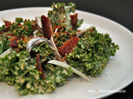 Kale Caesar Salad with Crispy Bacon, Garlic Panko Crumbs, and White Anchovies