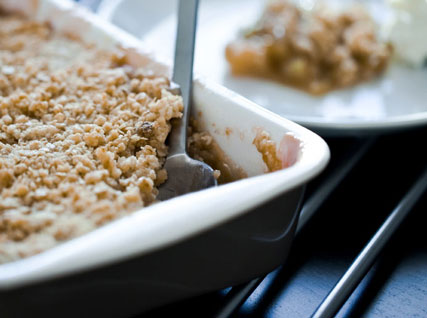 Apple Brown Betty with Maple-Bacon Frozen Custard