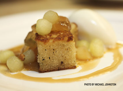 Brown Butter Cake with Caramelized Apples and Sour Beer Caramel