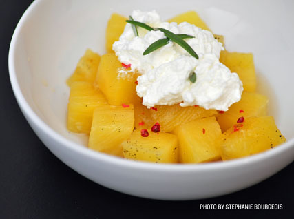 Riesling-poached pineapple