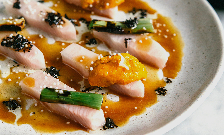 Hamachi with Uni, Burnt Scallions, and Ponzu Beurre Noisette