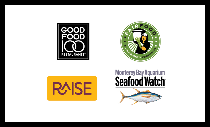 Good Food 100, Raise, Fair Food Program, Seafood Watch logos