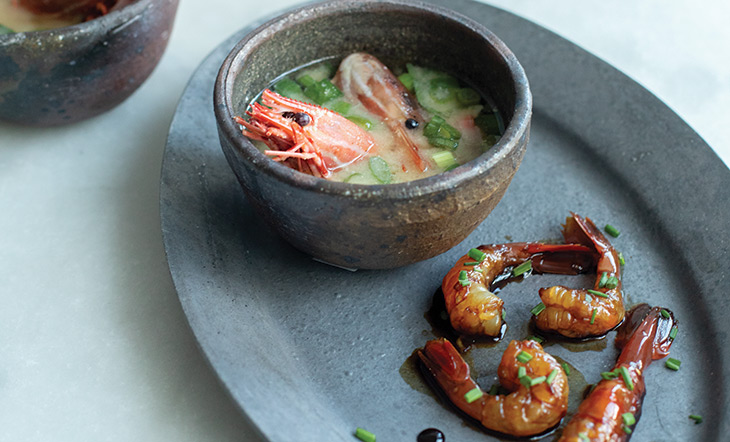 Spot prawns two ways photo: Celeste Noche