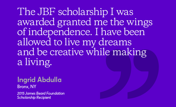 Ingrid Abdulla JBF Scholarship recipient inspiring quote