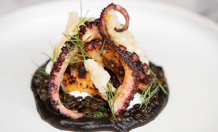 Grilled octopus over olive oil–coasted lentils photo by Clay Williams