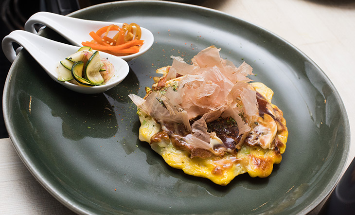Okonomiyaki served at the East Asian Culinary Tour dinner photo by Jeffrey Gurwin