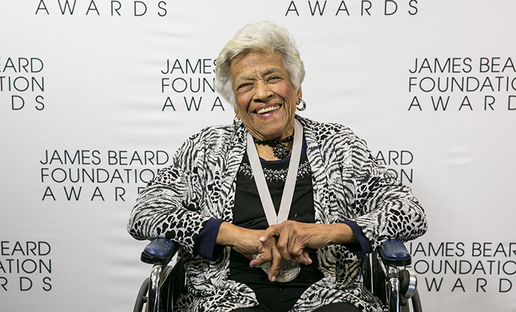 Leah Chase receiving her lifetime achievement award at the James Beard Awards in 2016 photo by Huge Galdones