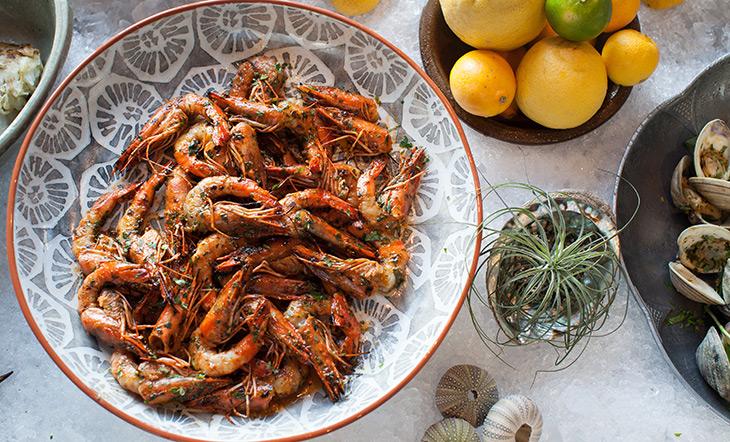 Cassia sunbathing prawns photo by Rick Poon