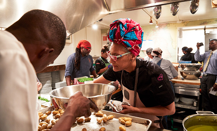 Carla Hall in the Beard House kitchen photo by David Chow