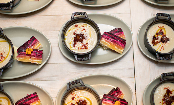 Celeriac soup and beet goat cheese gratin photo Clay Williams