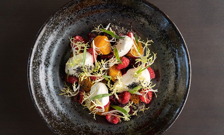 Marinated beets and goat cheese cremeux from La Vie photo by Kaz Tanabe Photography